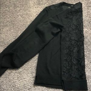 Theory black sweater with lace back.
